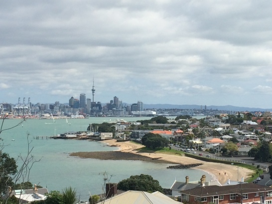 Overlooking some beaches, the Hauraki Gulf and Auckland.