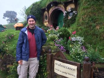 The Professor (whose F3 nickname is Bilbo) in front of his namesake's Hobbit hole.