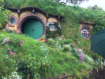 The front of Bilbo Baggins' Hobbit hole.